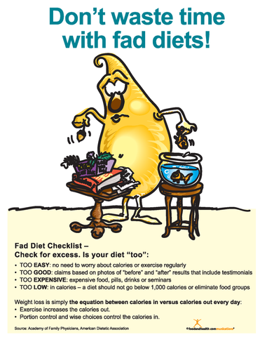 Fad Diets Color Handout Download - Nutrition Education Store