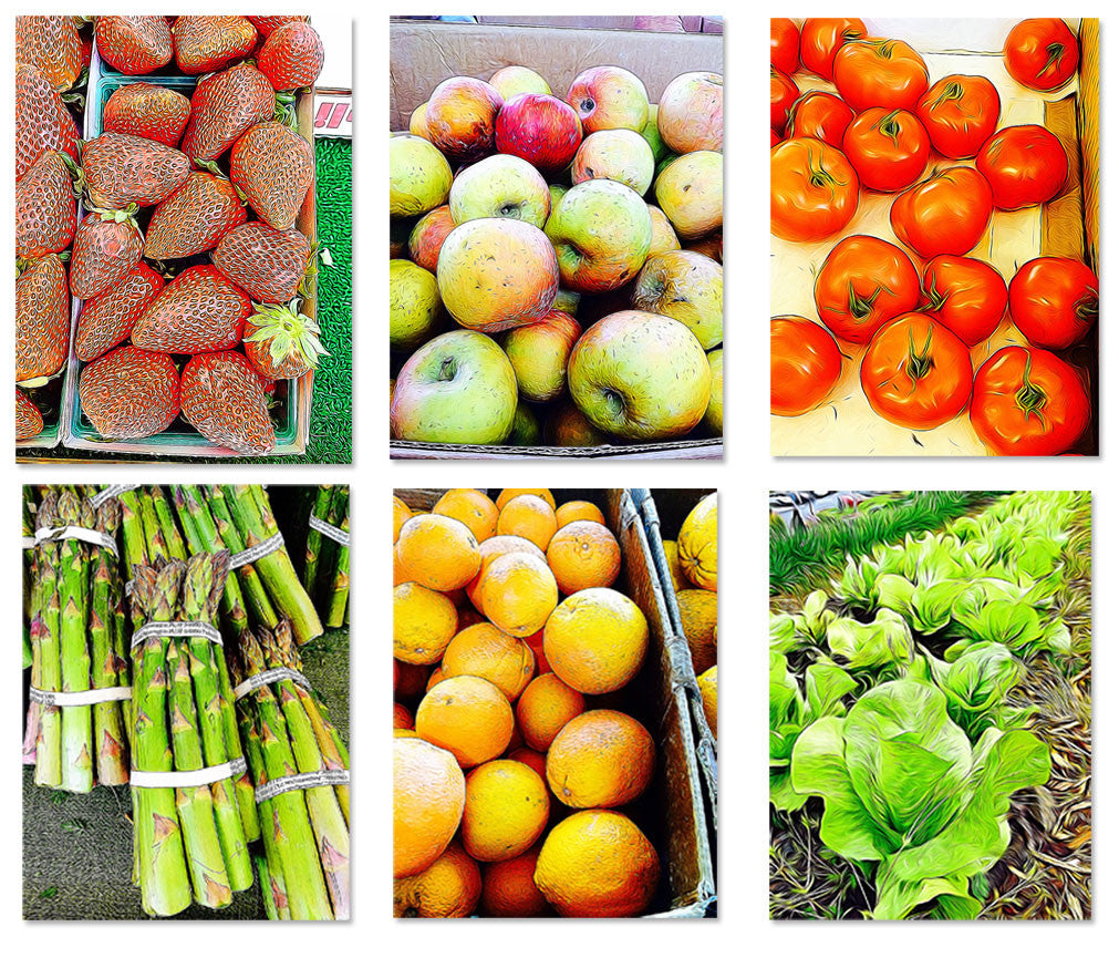 6 pack Farmers Market Fruit and Vegetable Painting Photos 8X10 - Nutrition Education Store