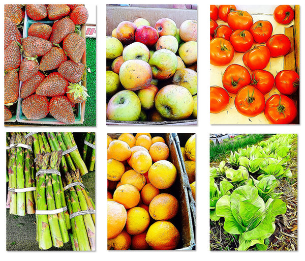 6 pack Farmers Market Fruit and Vegetable Painting Photos 8X10