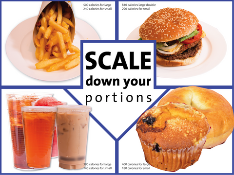 Scale Down Your Portions Poster English and Spanish Double-Sided - Nutrition Education Store