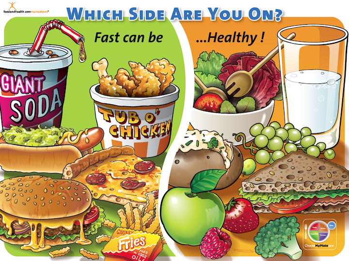 Junk food vs healthy food posters for kids for Cuisine vs food