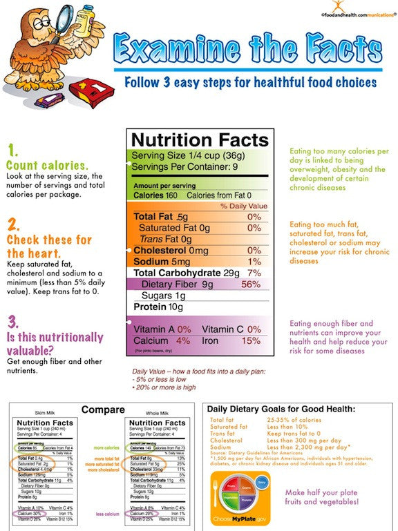 Food Label Poster Nutrition Facts Poster 16 15 Nutrition Education Store