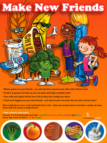 Make New Friends Food Groups Poster - Nutrition Education Store