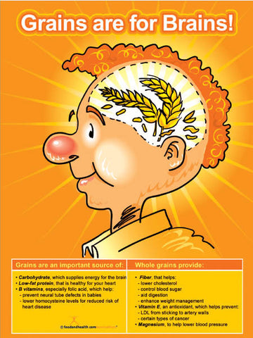 Grains Are For Brains Poster - Nutrition Education Store