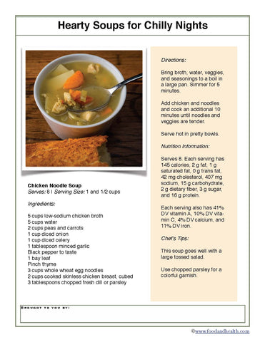 "Chicken Noodle Soup 24"" Square Banner for Bulletin Boards and Walls - Nutrition Education Store"