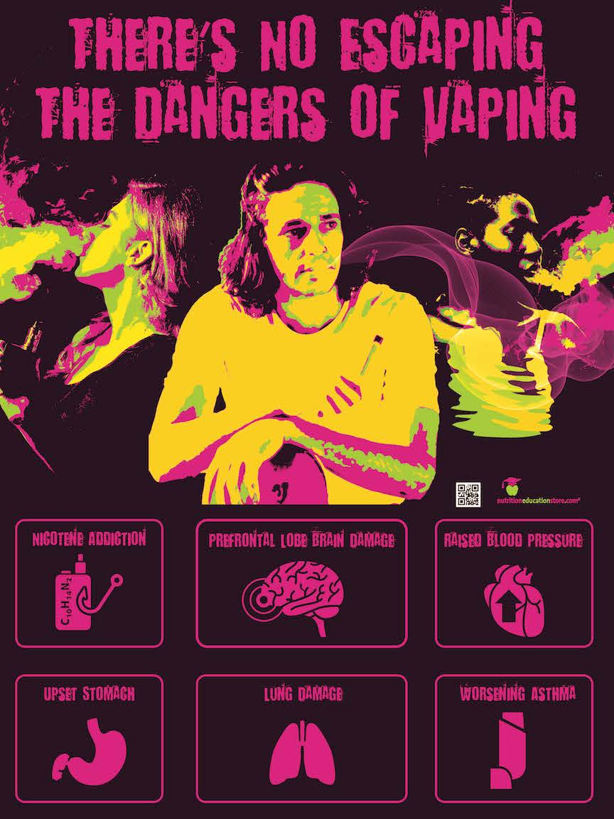 "Dangers of Vaping Poster 18"" x 24"" Health Poster - Laminated - Nutrition Education Store"