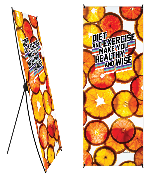 "Custom Diet and Exercise Make You Healthy And Wise Orange ""Coin"" Banner and Stand 24"" x 62"" - Wellness Fair Banner 24"" X 62"" - Add Your Logo To This Health Fair Banner"
