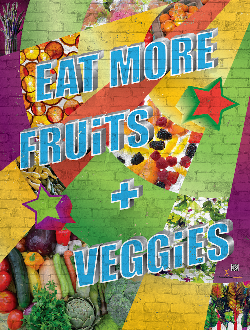 "Street Art Poster - Eat More Fruits and Veggies 18"" x 24"" Laminated Nutrition Poster - Motivational Poster - Nutrition Education Store"