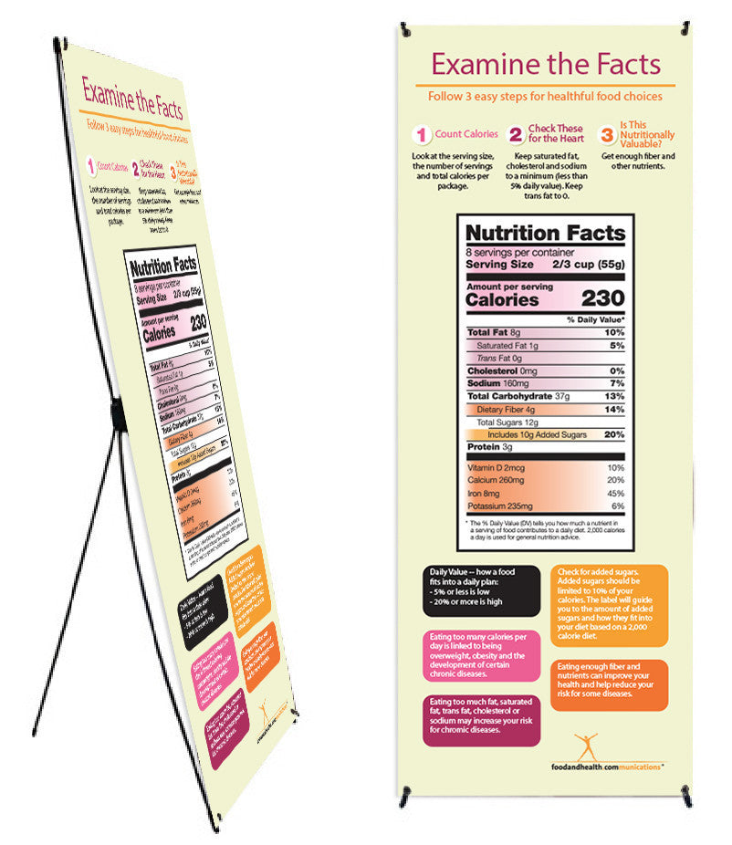 "Custom New Food Label Vinyl Banner and Banner Stand 26"" X 62"" - Add Your Logo To This Health Fair Banner - Nutrition Education Store"
