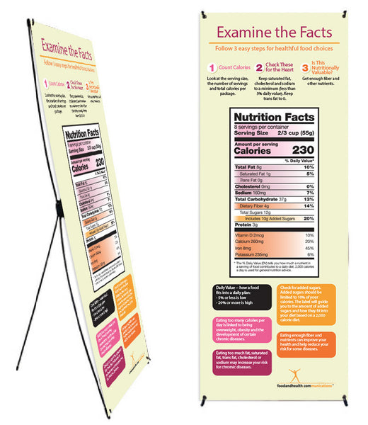 "New Food Label Vinyl Banner and Banner Stand 26"" X 62"""