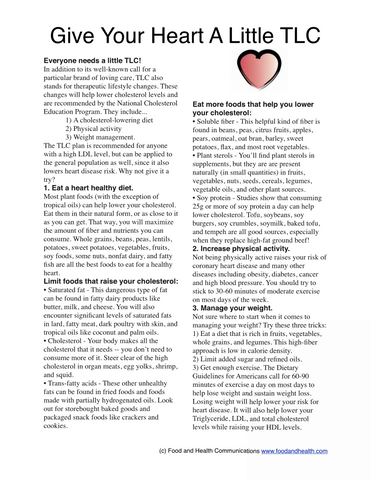 About Your Cholesterol Poster - Chart to Understand All the Terms and How to Improve Them