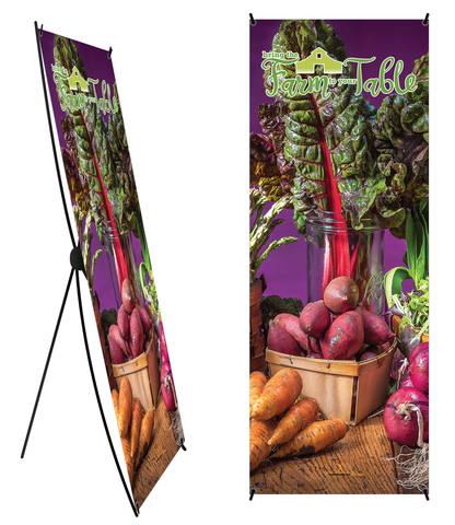 "Custom Farm to Table Banner and Stand 24"" x 62"" - Wellness Fair Banner 24"" X 62"" - Add Your Logo To This Health Fair Banner - Nutrition Education Store"