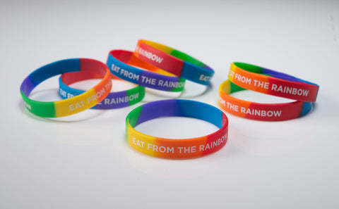 "Eat From The Rainbow Wristband 8"" Adult - 20 pack - Nutrition Education Store"