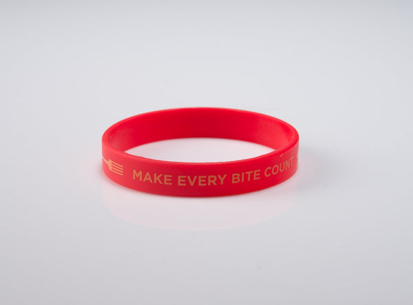 "Make Every Bite Count Wristband 6"" Kids - 20 pack - with forks"