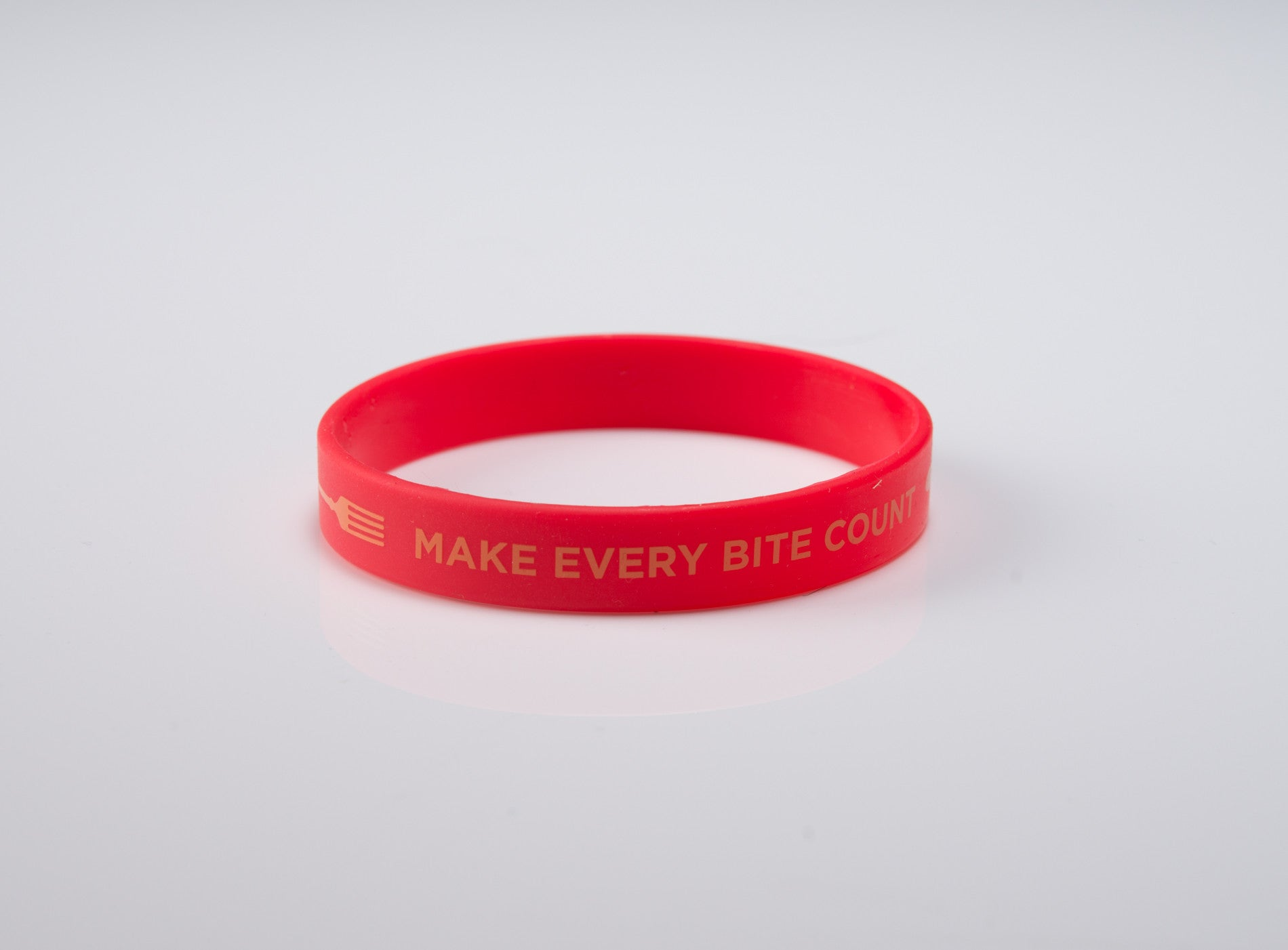 "Make Every Bite Count Wristband 8"" Adult - 20 pack - with forks - Nutrition Education Store"