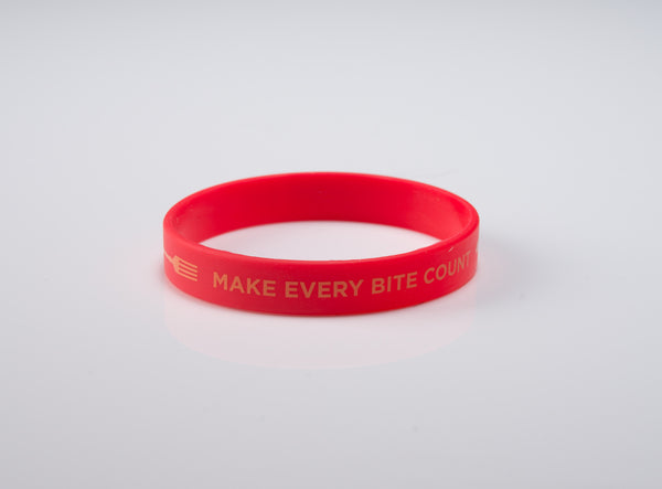 "Make Every Bite Count Wristband 7"" Bigger Kids - 20 pack - with forks"