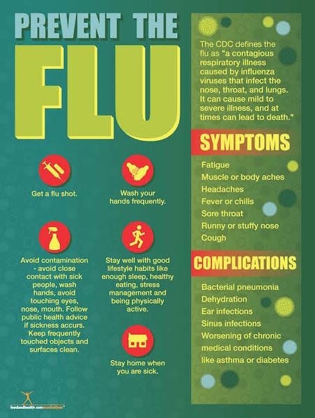 Exam Room Prevent the Flu Poster 12x18 - Nutrition Education Store
