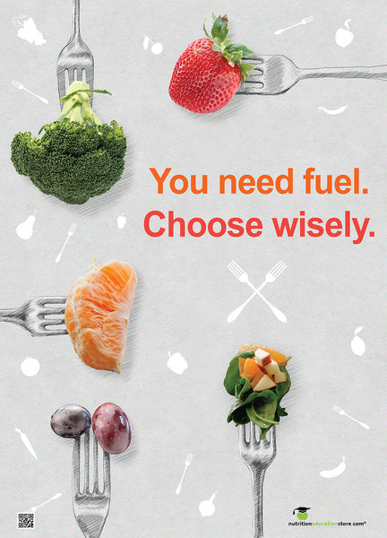 Choose Wisely Fruit and Vegetables on Forks Poster - Nutrition Poster - Motivational Poster