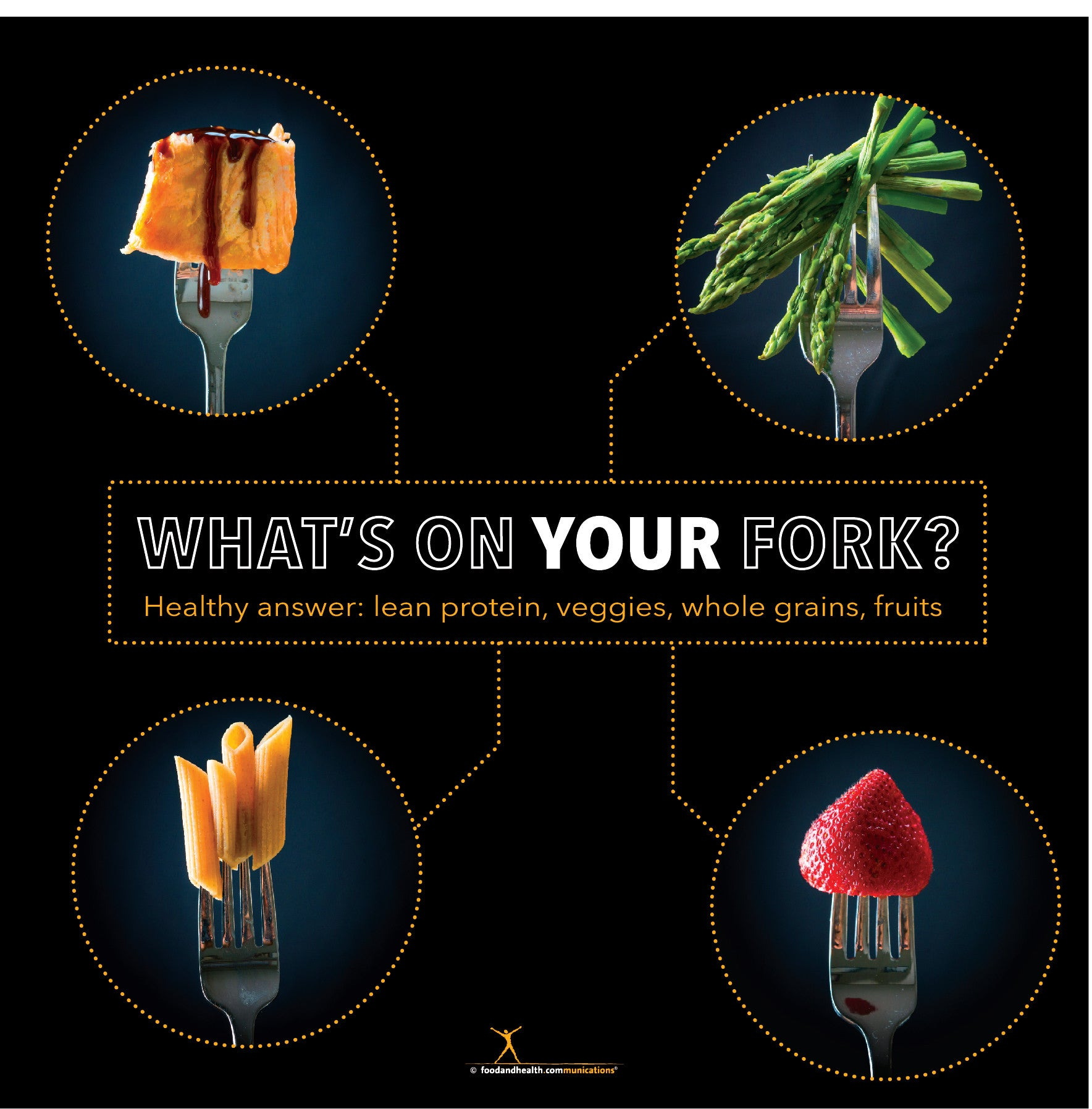 "What's On Your Fork? Bulletin Board Banner 24"" x 24"" Square Banner for Bulletin Boards, Walls, and More - Nutrition Education Store"