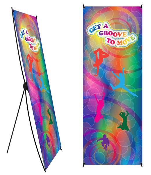 "Custom Get A Groove to Move Banner and Banner Stand 24"" X 62"" - Add Your Logo To This Health Fair Banner - Nutrition Education Store"