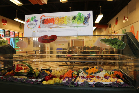 "Eat from the Rainbow With Chef Ann Foundation 12"" x 36"" Salad Bar Sign or Standing Table Sign - Nutrition Education Store"