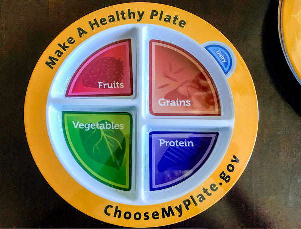 25 pack MyPlate Plate Plastic With Compartments - Nutrition Education Store Exclusive Design - 25 Plates With Free Shipping - Order 2 Packs If You Want 50