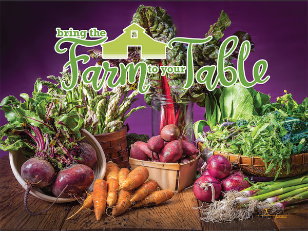 "Custom Farm to Table Banner 48x36"" Vinyl - Wellness Fair Banner - Add Your Logo To This Health Fair Banner"