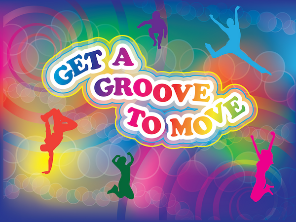 "Custom Get A Groove to Move Banner 48"" x 36"" Vinyl - Wellness Fair Banner - Add Your Logo To This Health Fair Banner - Nutrition Education Store"