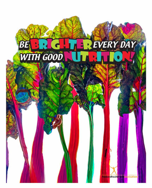 "Rainbow Chard: Be Brighter Every Day With Good Nutrition 18"" x 24"" Laminated Nutrition Poster - Motivational Poster"