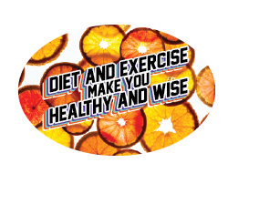 "3"" x 2"" Big Oval Nutrition Stickers ""Be Healthy and Wise With Diet and Exercise"" With Orange Coins - Nutrition Education Store"