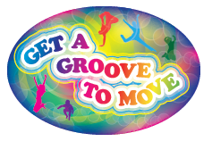 "3"" x 2"" Big Oval Nutrition Stickers ""Get A Groove to Move"""