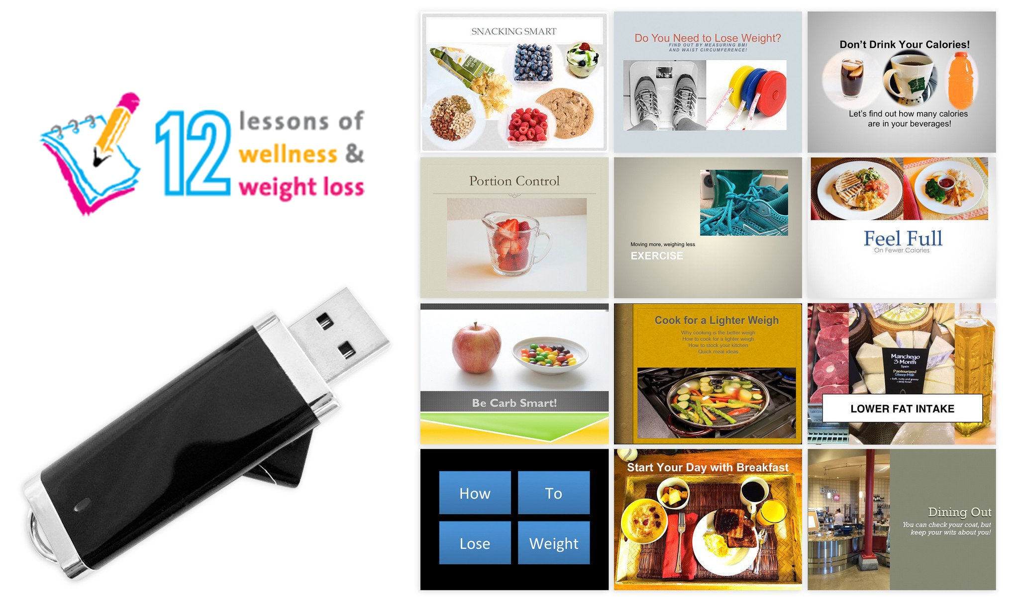 12 Lessons Wellness and Weight Loss Program on Flash Drive - Nutrition Education Store