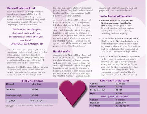 Heart Health Brochure -- Lower Your Cholesterol - Packet of 25