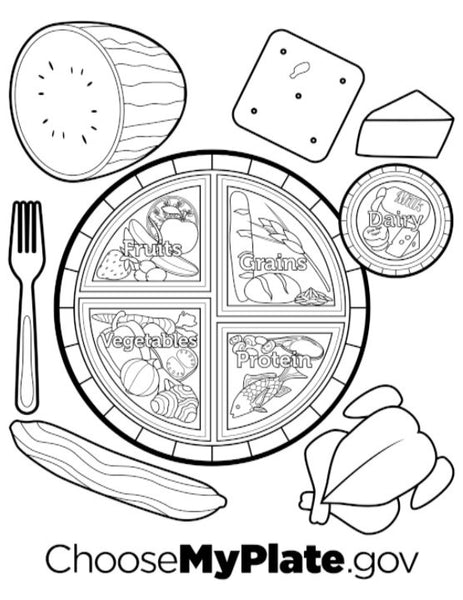 Adult High School Middle School MyPlate Coloring Book ...