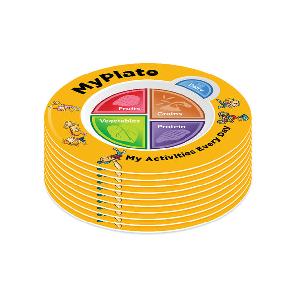 Kids MyPlate Plate Plastic - Nutrition Education Store Exclusive Design - 10 Plates With Free Shipping