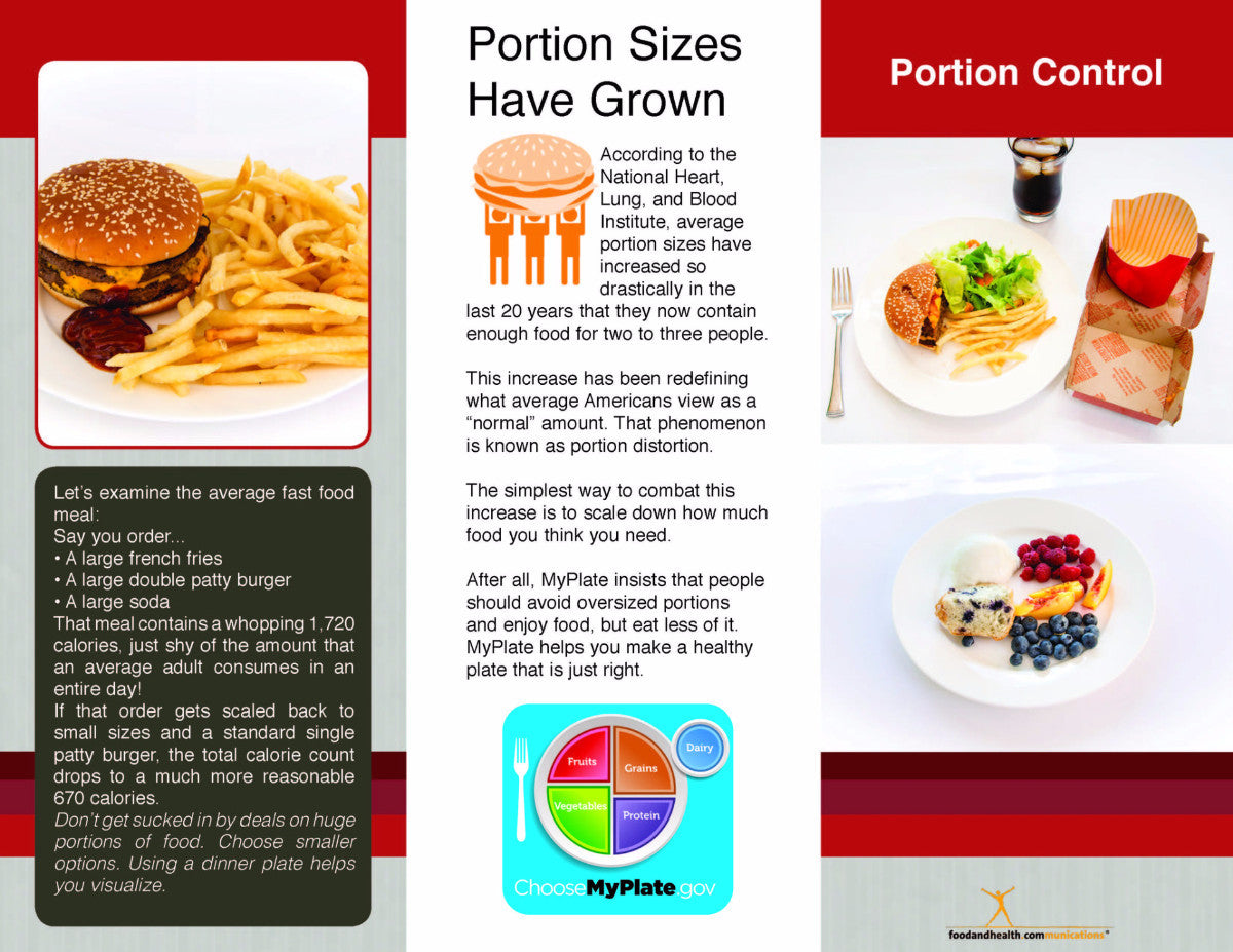 Portion Control 25 Brochures - Nutrition Education Store