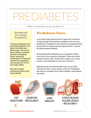 Prediabetes Poster - Nutrition Education Store