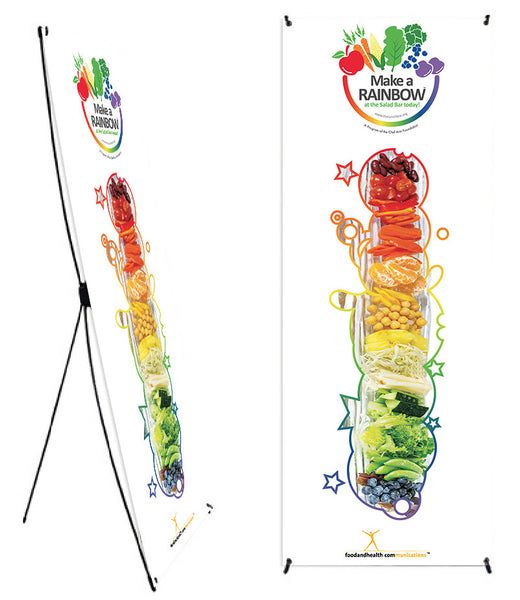 "Custom Eat from the Rainbow With Chef Ann Foundation 24 x 62"" Vinyl Banner and Stand - Add Your Logo To This Health Fair Banner"