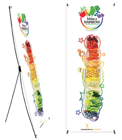"Custom Eat from the Rainbow With Chef Ann Foundation 24 x 62"" Vinyl Banner and Stand - Add Your Logo To This Health Fair Banner - Nutrition Education Store"