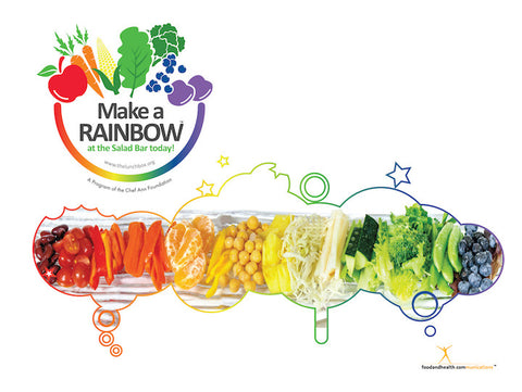 "Eat from the Rainbow With Chef Ann Foundation 8.5"" x 11"" Clear Salad Bar or Window Cling - Nutrition Education Store"