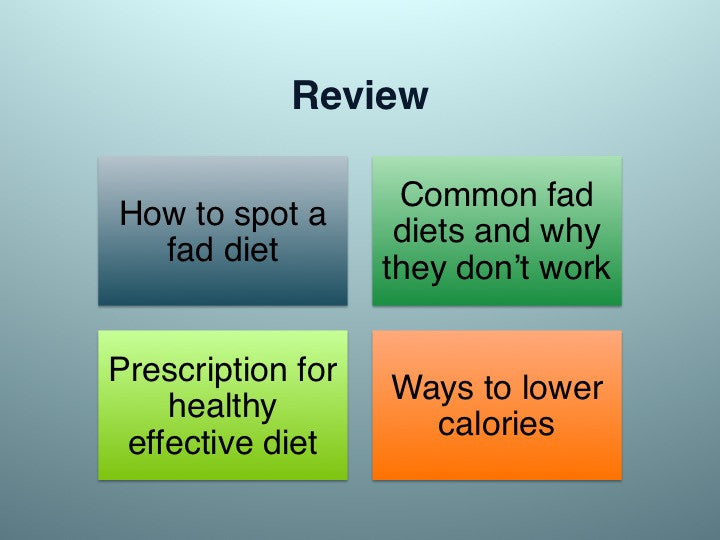 Dont Waste Your Time With Fad Diets PowerPoint And Handout Lesson