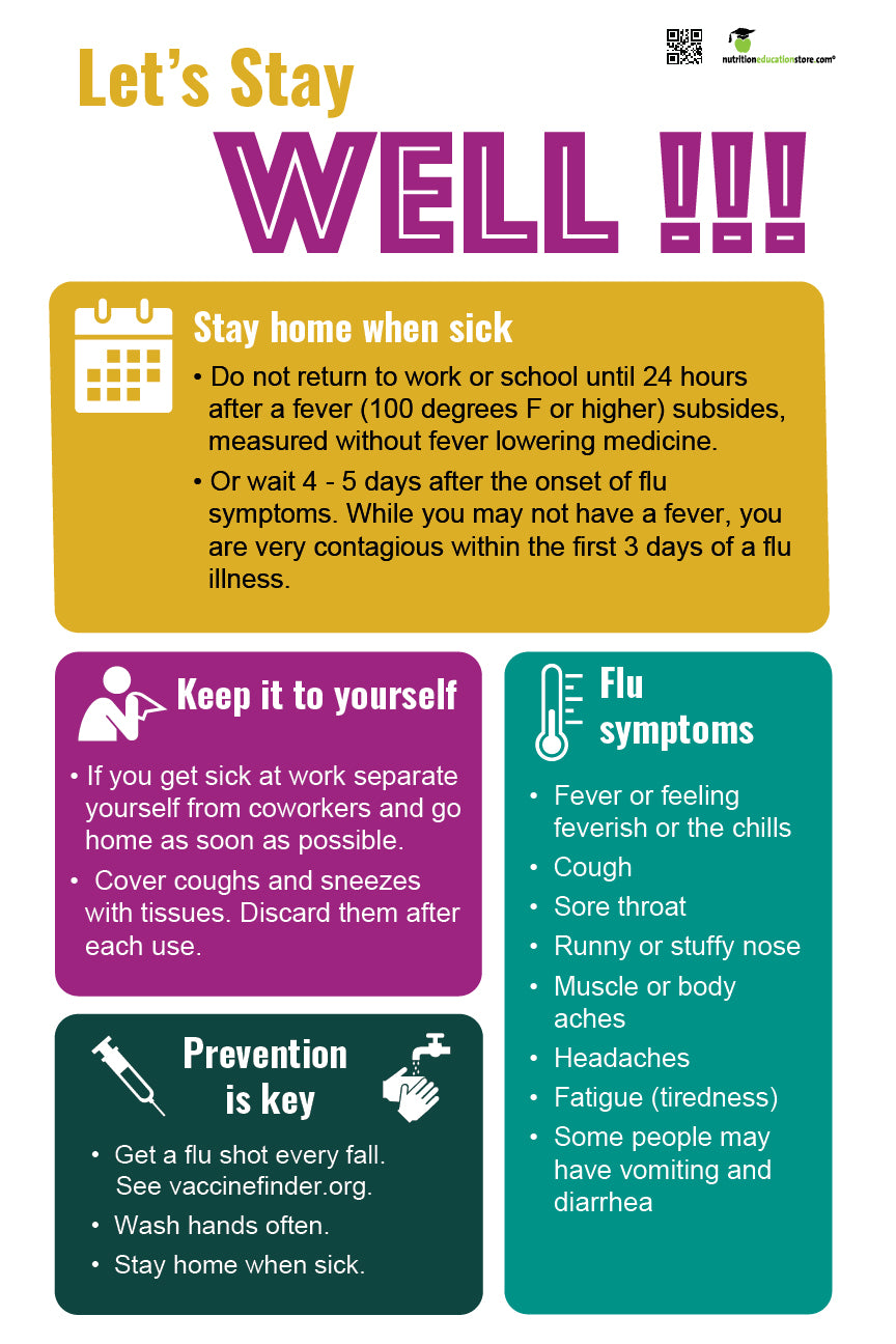 "Stay Home When Sick - Office Sick Etiquette Poster - 12"" x 18"" - Laminated Poster - Health Poster - Nutrition Education Store"