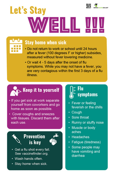 "Stay Home When Sick - Office Sick Etiquette Poster - 12"" x 18"" - Laminated Poster - Health Poster"
