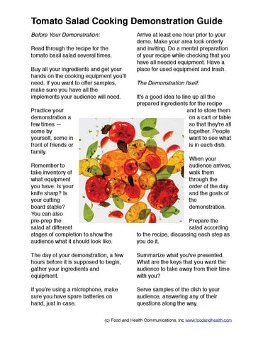 "A Tomato Basil Salad 24"" Square Banner for Bulletin Boards and Walls - Nutrition Education Store"