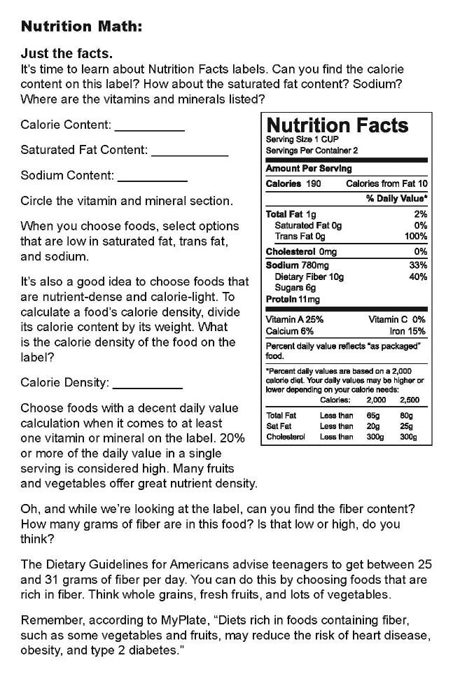 High School and Adult Nutrition Workbook - Pack of 10 | $ 15.29 ...