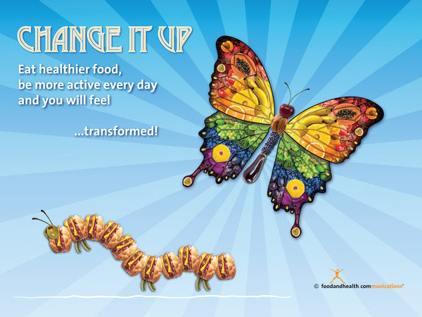 "Custom Change It Up Banner 48"" X 36"" Vinyl - Add Your Logo To This Health Fair Banner - Nutrition Education Store"