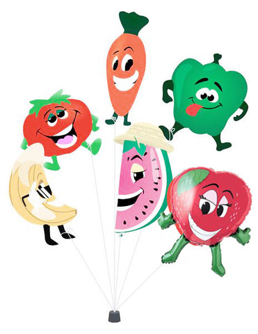 6 Fruit and Vegetable Balloons Mylar