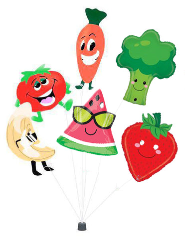 6 Fruit and Vegetable Balloons Mylar - Nutrition Education Store