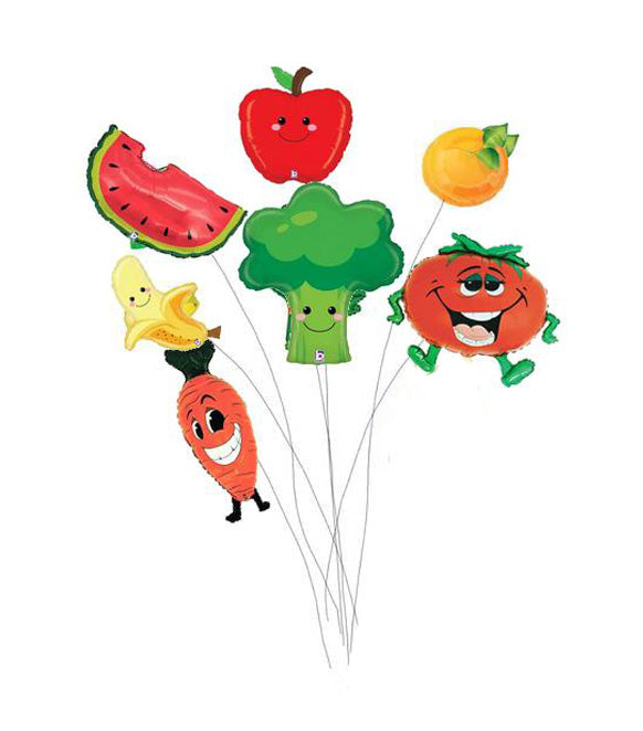 7 Fruit and Vegetable Shaped Balloons - Nutrition Education Store