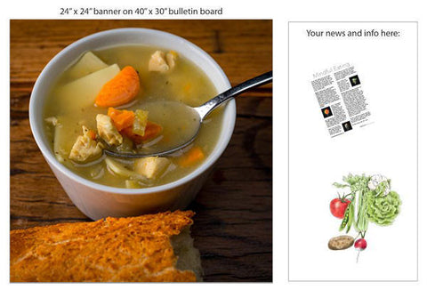 "Chicken Noodle Soup 24"" Square Banner for Bulletin Boards and Walls"